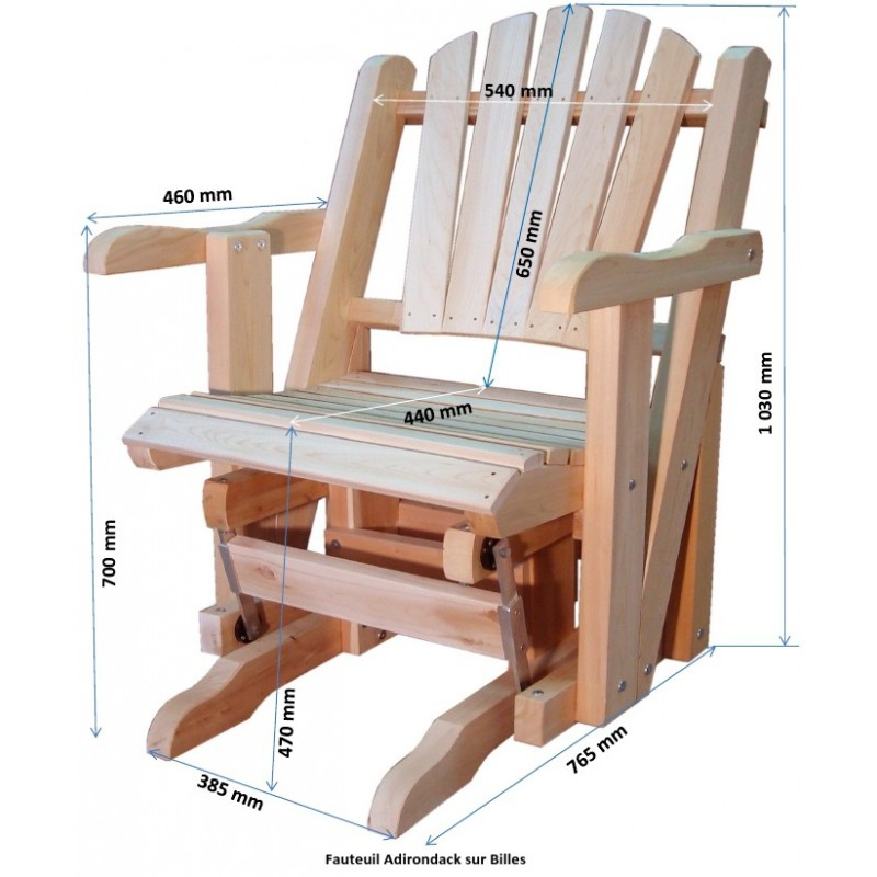 Rocking chair canadien adirondack de jardin deux places sur roulements for Fauteuil de jardin canadien