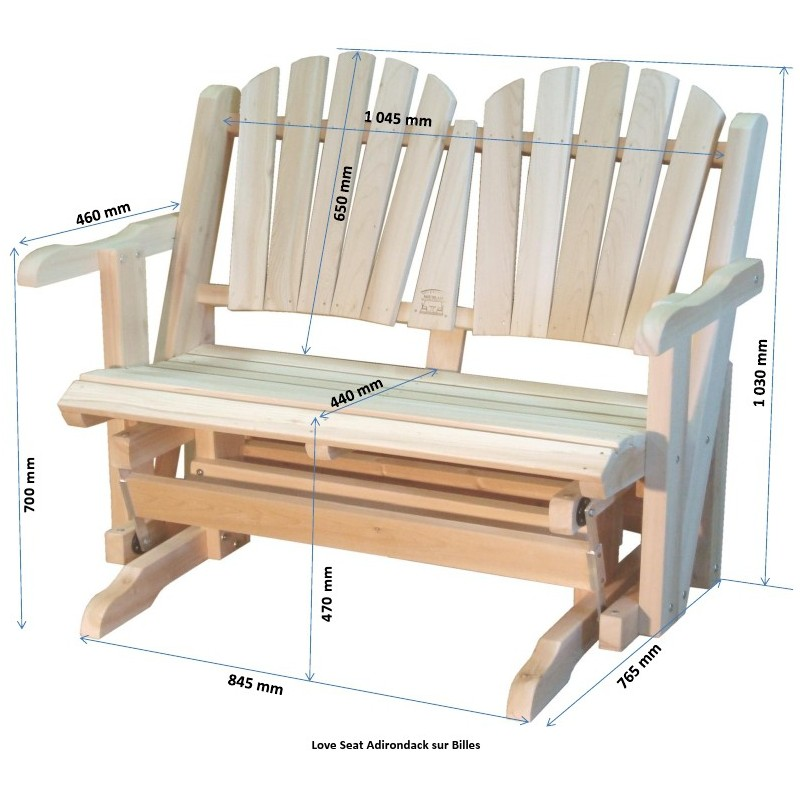 Rocking chair canadien adirondack de jardin deux places for Plan de chaise en bois gratuit