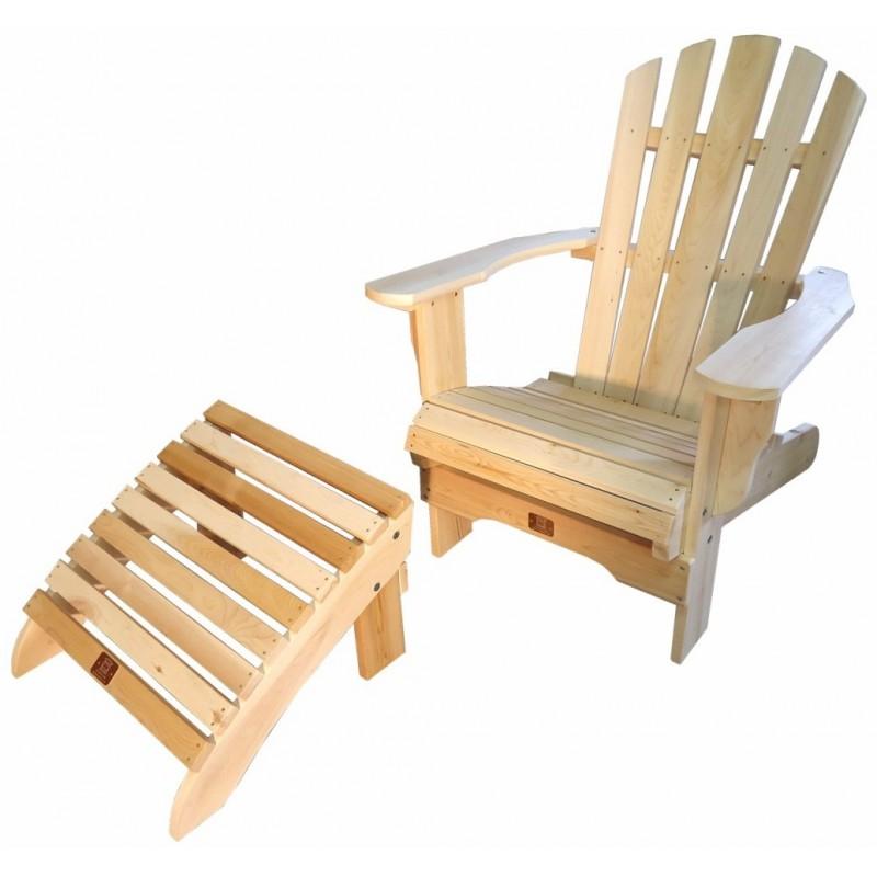 fauteuil adirondack fixe avec repose pieds en c dre brut. Black Bedroom Furniture Sets. Home Design Ideas