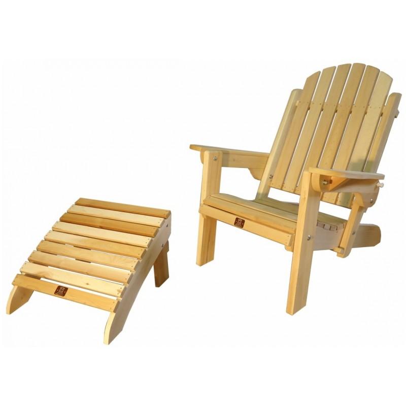 Fauteuil adirondack pliant avec repose pieds en cedre brut canada - Repose pied fauteuil ...