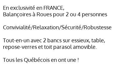 Balançoire à Roues, exclusivité en France, convivialité, relaxation, sécurité, robustesse, avec toit